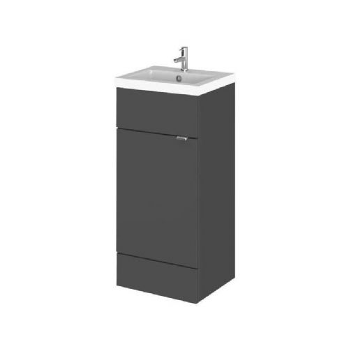 Elite Grey Gloss 400mm Vanity Unit & Basin (355mm Deep)